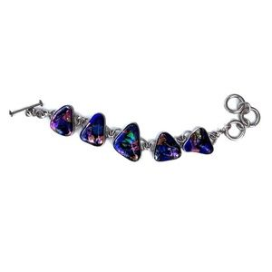 Vintage dichroic triangle sterling silver bracelr